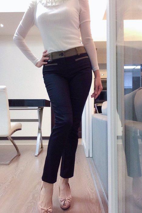 *Beauty*LAGERFELD滾邊黑色窄管長褲M號3800元PH
