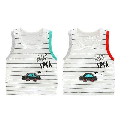 【可愛村】拚色貼布汽車造型條紋無袖背心 背心 童裝