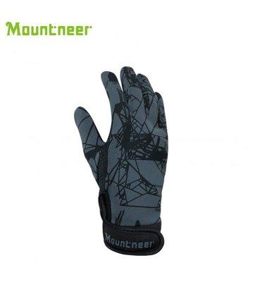 丹大戶外【Mountneer】山林休閒 抗UV印花觸控手套 11G05-17 黑灰