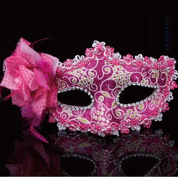 5Cgo【鴿樓】會員有優惠  39699657896 聖誕節面具舞會派對側邊花朵威尼斯公主面具高檔玫瑰面具女cospla