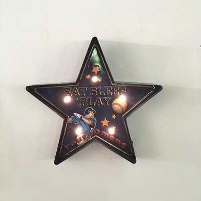 LOFT工業風燈牌5角星星STAR造型創意招牌 星形足球籃球橄欖球棒球運動圖案標示牌鐵皮畫佈置燈飾 鐵製燈排壁掛LED燈