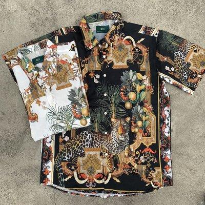 【inSAne】韓國購入 / 花襯衫 / 滿版 / 森林 / 豹 / 短襯 / 單一尺寸 / 黑色 & 白色