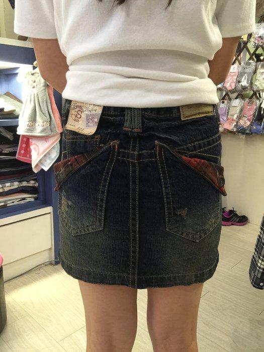 【江南小舖】正韓--Lolita定腰式口袋格紋反摺牛仔窄裙***零碼出清