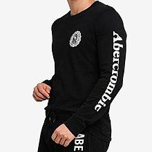 AF Abercrombie & Fitch 麋鹿 長袖T恤袖子LOGO 黑色