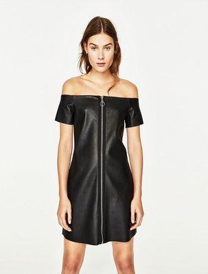 KillBeer:::歐美英倫ZARA同款搖滾時尚簡約皮革拉鍊修身一字領性感洋裝連身裙topshop AA H&M