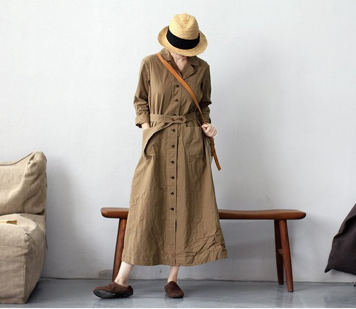 質樸的奢華♥ 秋冬款高密純棉復古卡其色西裝領單排扣連身裙風衣2149
