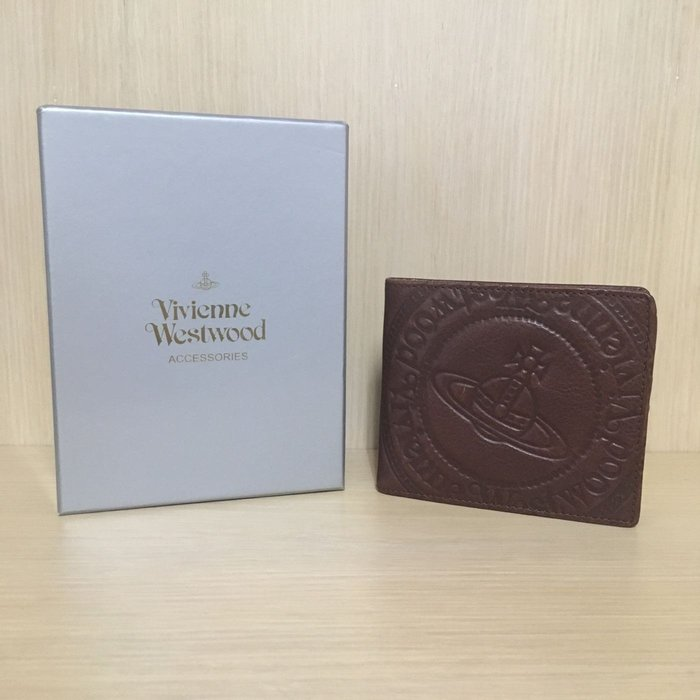 Vivienne Westwood 經典布加洛系列 全牛皮 咖啡色 多卡夾 短夾 皮夾