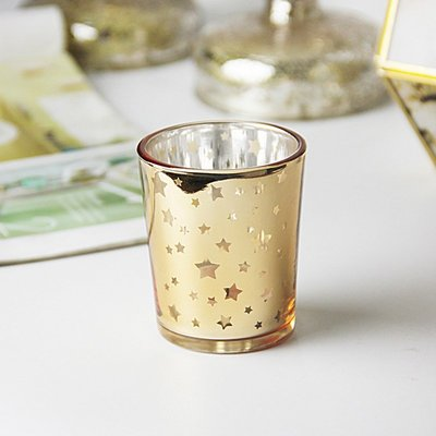 熱銷#浪漫歐式金色星星杯形玻璃燭臺家用燭光晚餐裝飾DIY香薫蠟燭臺#燭臺#裝飾