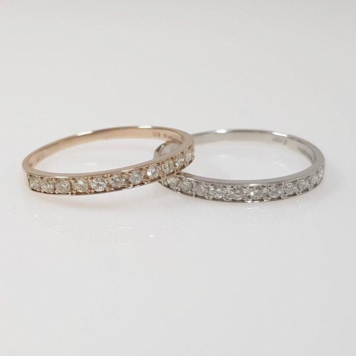 送禮禮物禮品 全新品 天然鑽石現戒 兩只 每只鑽石12顆共0.20ct  PT900白金  大眾當舖 編號5258