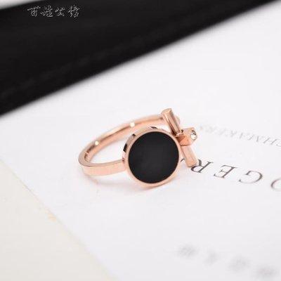 個性鍍18k玫瑰金戒指女款黑色食指環全...