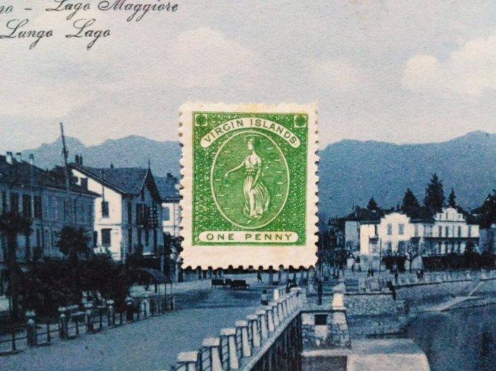 (極品珍藏!) 英屬維京群島(British Virgin Islands) 1866年(首套郵票第一枚) 1d