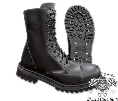 ♛大鬍子俱樂部♛ Brandit® 10 Eyelet Boots 德國 工裝風格 軍裝 經典 10孔 中筒靴 鋼性鞋頭