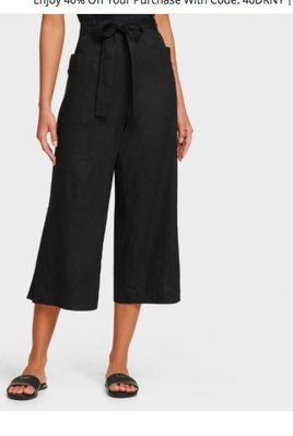 DKNY PULL-ON WIDE-LEG PANT WITH WAIST TIE