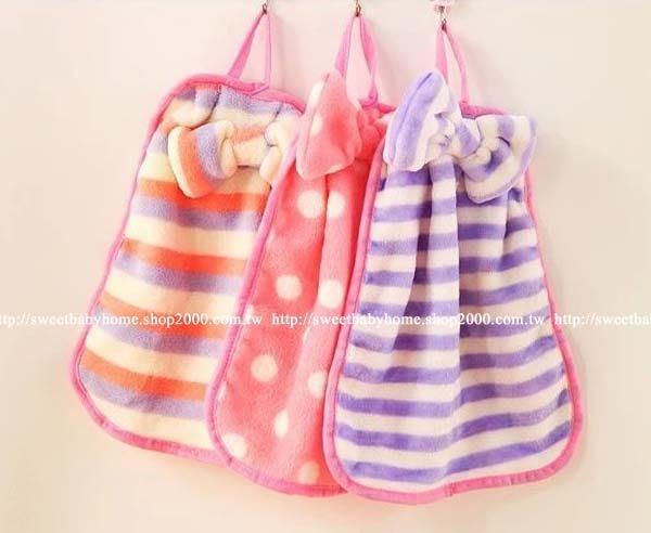 【批貨達人】蝴蝶結珊瑚絨可愛擦手巾 廚房 浴室 可掛式