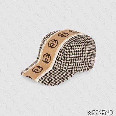 【WEEKEND】 GUCCI GG 千鳥紋 寬織帶 棒球帽 帽子 鴨舌帽 黑白 599067