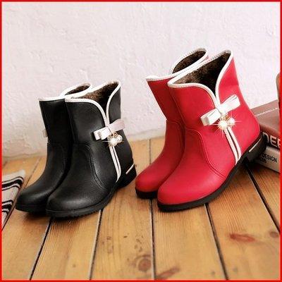 *鞋館Shoes hall*【A11985】街頭時尚~素面蝴蝶結平底短靴~2色~(可訂做大尺碼)
