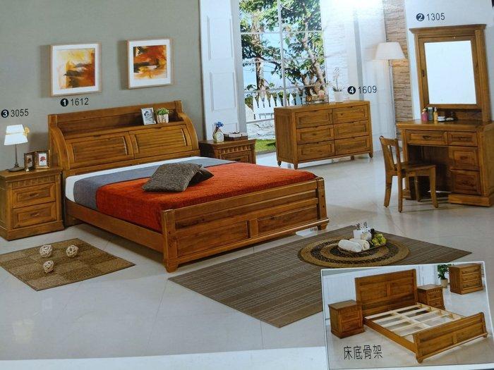 【DH】商品貨號S1612-8商品名稱 《興軒》6尺古典正樟木床套組(圖一)床台.床頭櫃*2.六斗櫃.鏡台組含椅.可拆賣