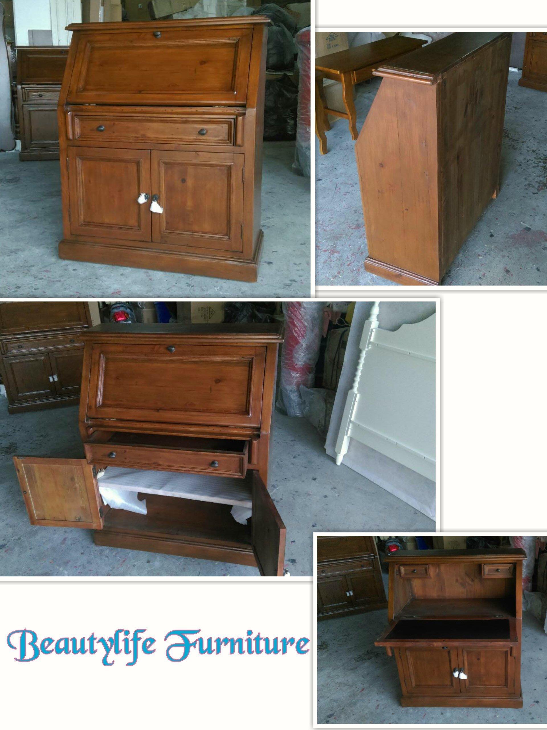 美生活館--南美洲鄉村風格家具-- 全實木 掀蓋單抽雙門書桌兼/收納櫃
