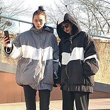 拼色加厚連帽棉服女韓版冬裝新款原宿風寬松顯瘦長袖棉衣外套學生