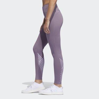 ADIDAS 粉紫色 芋頭紫 蓮藕紫 運動 健身 瑜珈 慢跑 訓練 緊身褲 內搭褲 長褲 修身翹臀 FJ7251