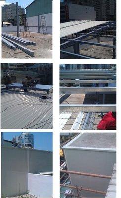台中防水防漏屋頂整修,鐵皮屋加蓋,鋼骨結構施工,外牆鐵衣,pu屋頂防水,各式漏水處理