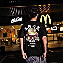 男裝2019夏季新款香港街頭復古短袖男嘻哈潮流落肩寬松圓領袖T恤學生