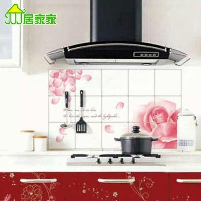 粉紅玫瑰精品屋~浪漫玫瑰廚房防油貼 瓷磚貼~