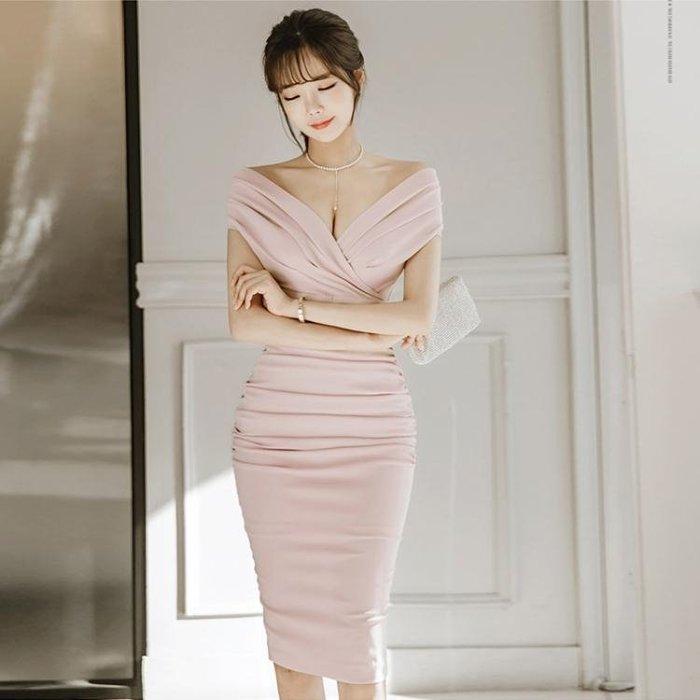 2018夏裝連衣裙一字肩修身包臀氣質名媛OL女裝緊身低胸性感禮服裙