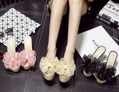 一字型透明花朵草編楔型高跟涼鞋拖鞋-黑/米/粉34-39【no-520218097738】