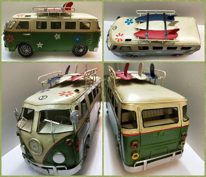 @3C 柑仔店@聖誕 交換 禮物 鐵製 衝浪板小巴士 綠 鐵皮 汽車 巴士 模型 家居飾品 懷舊 復古 歐式 英國鄉村