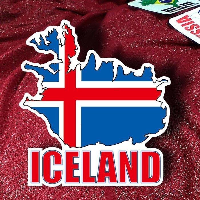 【國旗貼紙專賣店】冰島國旗地圖抗UV、防水行李箱貼紙/Iceland/多國款可訂製