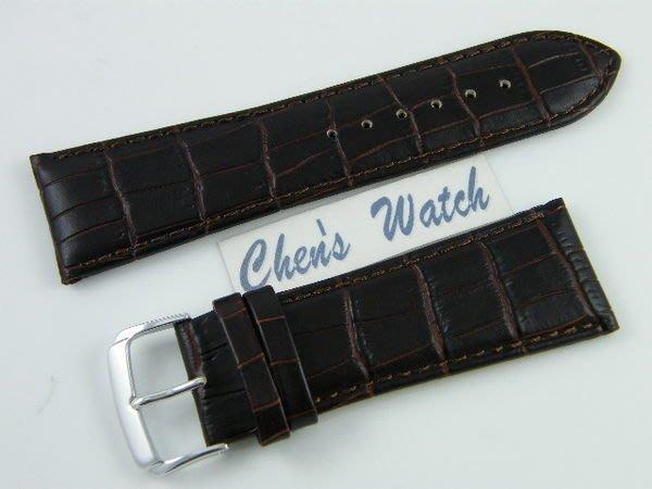 【錶帶家】『嚴選』26mm收22mmLIMA 義大利牛皮錶帶壓鱷魚皮紋竹節紋真皮錶帶霧面咖啡色及黑色