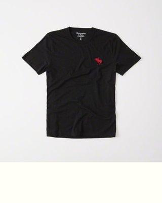 Maple麋鹿小舖 Abercrombie&Fitch *AF 黑色圓領麋鹿LOGO素面短T*( 現貨L/XL號 )