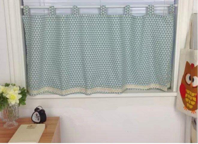 日式清新 棉麻穿桿式半窗窗簾