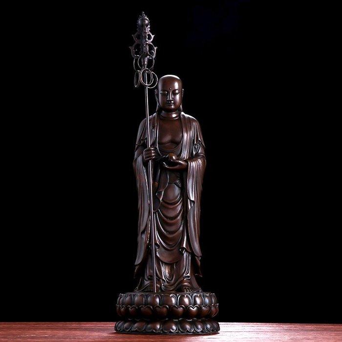 【睿智精品】銅佛像 神像 南無地藏王菩薩 法像莊嚴 銅製(GA-4426)