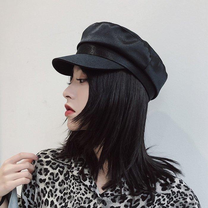 衣萊時尚-熱賣款 美歐慧 春夏薄款網紅潮人簡單百搭綢緞軍帽英倫八角貝雷帽小香風