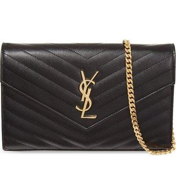 全新真品 現貨 YSL WOC 黑色金鍊 大款 山形紋鍊帶包