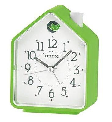 SEIKO CLOCK 精工可選擇式鈴聲(兩組鳥鳴/ BB聲) 森林原音(綠屋)鬧鐘 型號:QHP002M【神梭鐘錶】