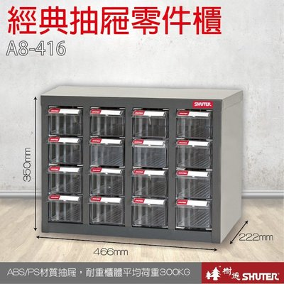 樹德 A8-416 16格抽屜 裝潢 水電 維修 汽車 耗材 電子 3C 包膜 精密 車床 電器 專業零件分類櫃