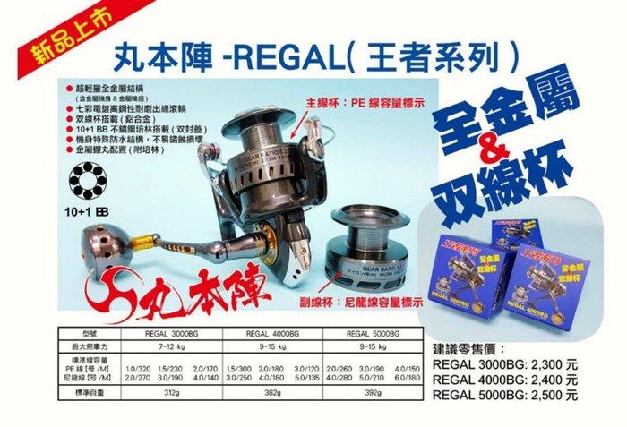 (桃園建利釣具)丸本陣 REGAL(王者系列) 4000BG 捲線器 10+1 BB不銹鋼培林 全金屬+雙線杯 捲線器
