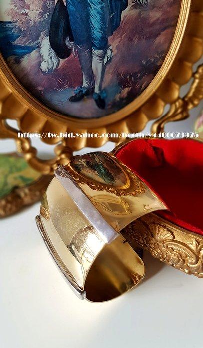 黑爾典藏西洋古董 ~ 美國古董大牌NAPIER 金色銀調 古埃及 摩登手環~Vintage 復古 老件 懷舊