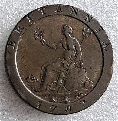 九九懷舊珍品-逾220年 珍罕1797 有史以來大型1 便士/Penny  (Cartwheel) George III