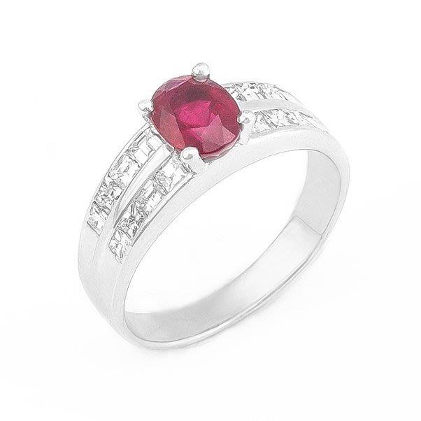 【JHT 金宏總珠寶/GIA鑽石專賣】1.14ct天然紅寶鑽戒/材質:14K(R00018)