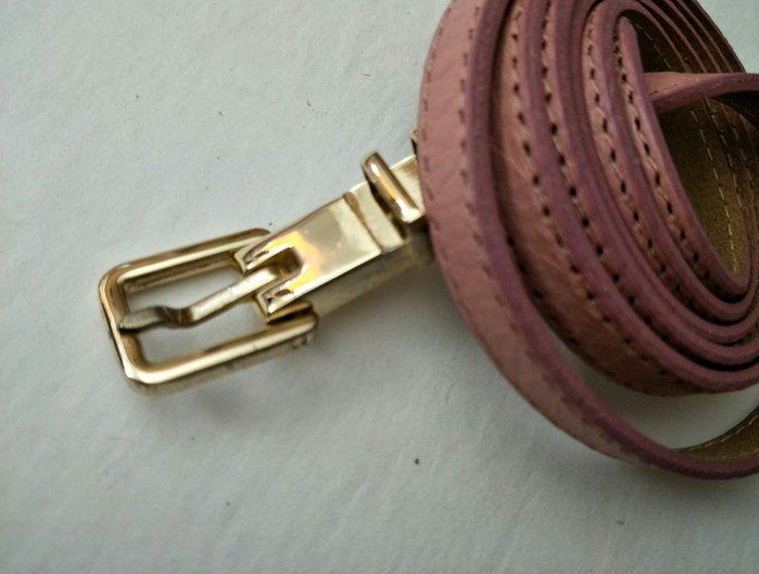 新品上市  歐款 藕粉色 真皮細版皮帶