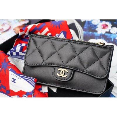 現貨專櫃全新正品 Chanel AP0374 O card holder 荔枝紋 拉鍊卡片零錢包 黑 金銀扣現貨