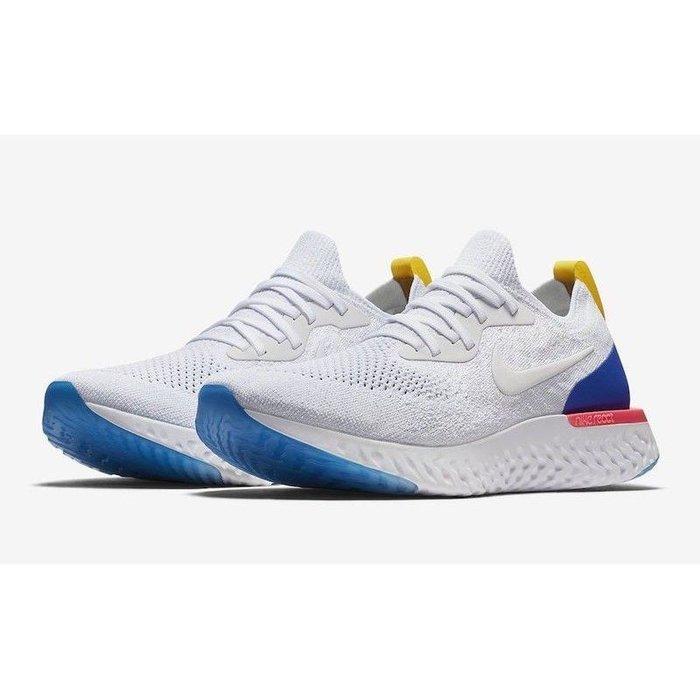(老夫子)Nike Epic React Flyknit (AQ0067-101)男(AQ0070-101)女 白藍