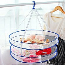 Color_me【Z23】多功能雙層晾衣藍 折疊式收納籃 透氣網狀洗衣籃 玩具藍 置物網 收納網 洗衣籃