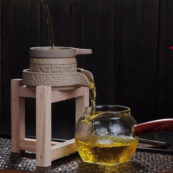 5Cgo【茗道】含稅會員有優惠 544760411437 扭轉乾坤過濾茶漏石磨過濾網實木底座茶漏套裝茶道茶隔泡茶濾茶器