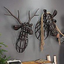 Loft工業風格鐵藝鹿頭壁掛大號馬頭壁飾酒吧牆面裝飾掛件牆飾(兩款可選)