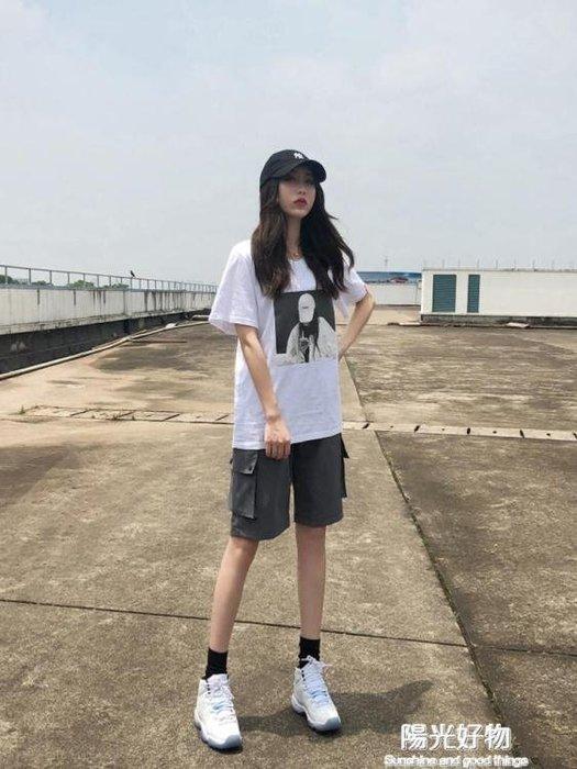 工裝短褲女夏新款韓版寬鬆直筒bf休閒中褲高腰港味運動五分褲
